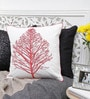 White & Red Cotton 16 x 16 Inch Embroidered Tree Cushion Cover by Mapa Home Care