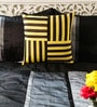 Yellow & Black Duppioni 16 x 16 Inch Woven Stripes Cushion Cover by Mapa Home Care