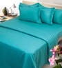 Cyan Solids Cotton King Size Bed Sheets - Set of 3 by Mark Home