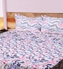 Mark Home Leaf Pink & White Cotton Abstract Bed Sheet (with Pillow Covers) - Set of 3