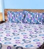 Mark Home Circles Blue & Purple Cotton Abstract Bed Sheet (with Pillow Covers) - Set of 3