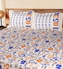 Mark Home Numbers Blue & Orange Cotton Abstract Bed Sheet (with Pillow Covers) - Set of 3