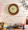 Brown MDF 18 Inch Round Wall Clock by Marwar Stores