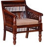 Maurya Handcrafted One Seater Sofa in Honey Oak Finish by Mudramark