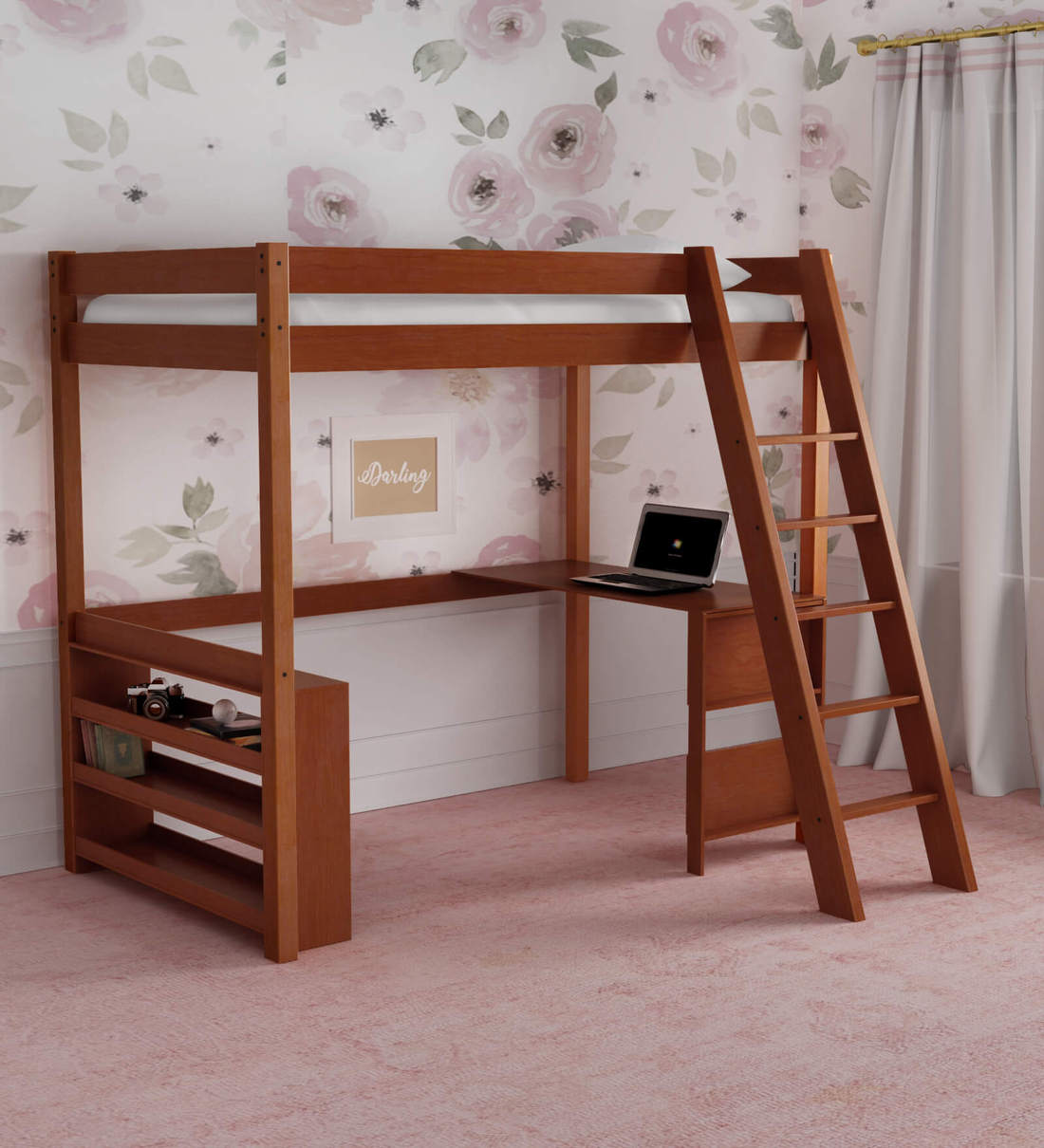 Picture of: Buy Mccaffeine Loft Bed With Study Desk Shelves By Mollycoddle Online Loft Beds Kids Furniture Kids Furniture Pepperfry Product