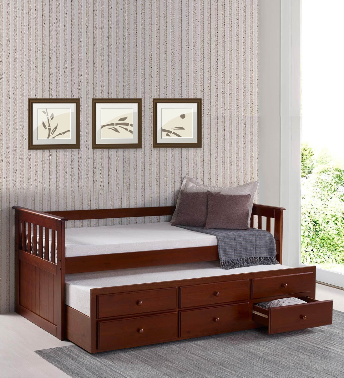 Buy Mccaptain Single Bed With Pull Out Bed Drawers By Mollycoddle Online Kids Single Beds Kids Furniture Kids Furniture Pepperfry Product
