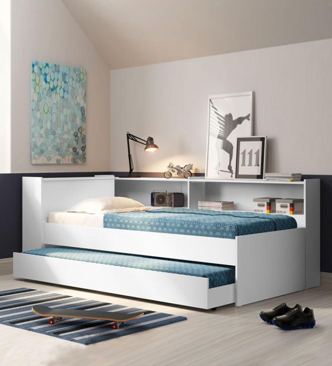 Buy Mchannah Trundle Bed With Side Storage In White Finish By Mollycoddle Online Kids Single Beds Kids Furniture Kids Furniture Pepperfry Product