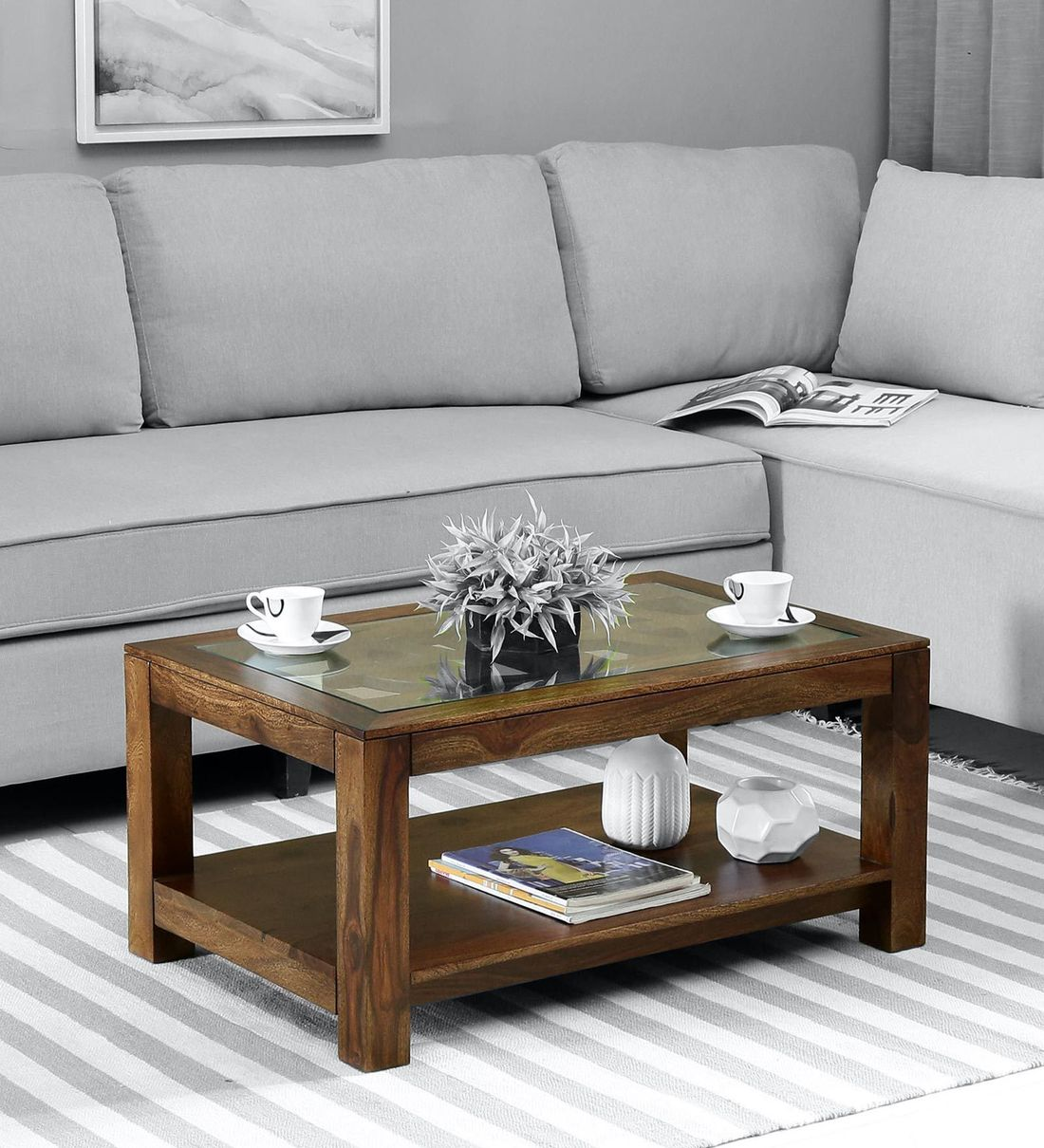 Picture of: Buy Mckenzy Solid Wood Coffee Table With Glass Top In Provincial Teak Finish By Woodsworth Online Contemporary Rectangular Coffee Tables Tables Furniture Pepperfry Product
