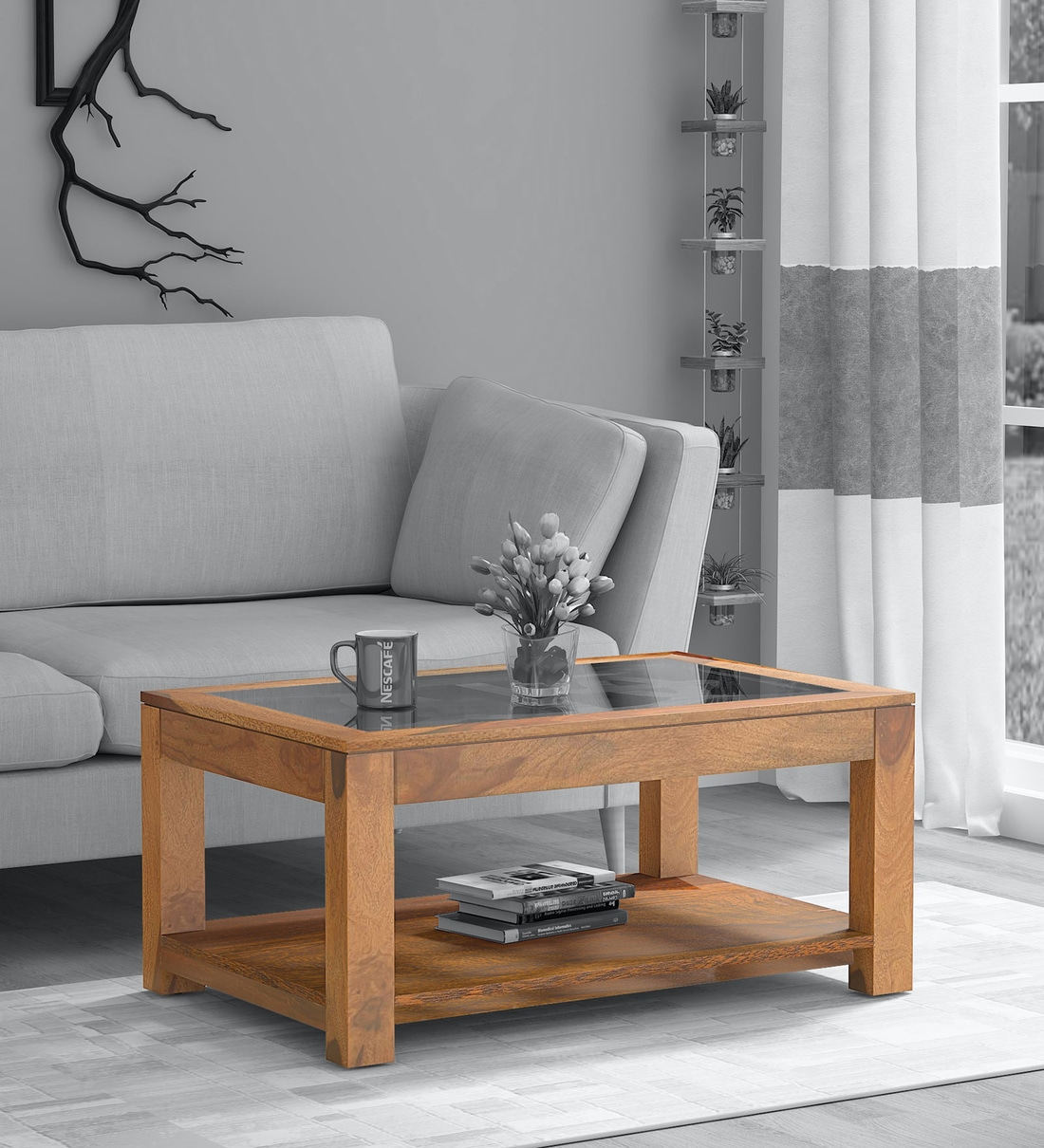 Buy Mckenzy Solid Wood Coffee Table With Glass Top In Rustic Teak Finish Woodsworth By Pepperfry Online Contemporary Rectangular Coffee Tables Tables Furniture Pepperfry Product