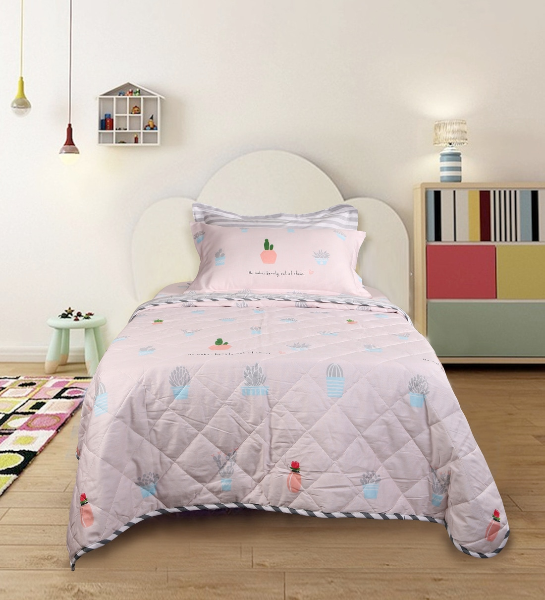 Buy Mcmaite Pink 210 Tc 100 Cotton Single Size Bedding Set Set Of 4 By Mollycoddle Online Crib Sets Kids Furniture Kids Furniture Pepperfry Product