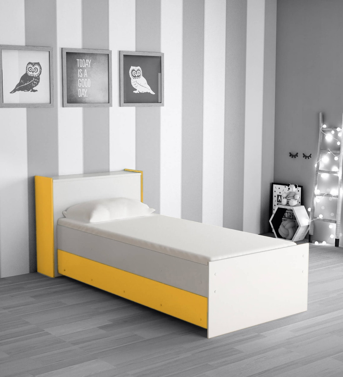 Buy Mczoe Trundle Bed With Headboard Storage In White Yellow Finish By Mollycoddle Online Trundle Beds Beds Furniture Pepperfry Product