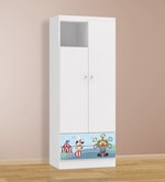 McBozo Small Two Door Wardrobe with Two Drawers in Blue Colour