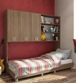 McBruno Multi-Functional Bed with Wall Storage in Brown Oak