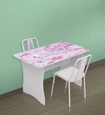 McCindy Cindrella Study Table with Two Chairs in Baby Pink Colour