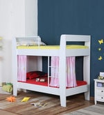 McPia Bunk Bed with Pink Curtains in Satin White