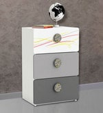 McZico Chest of Three Drawers in Pearl White & Grey Finish