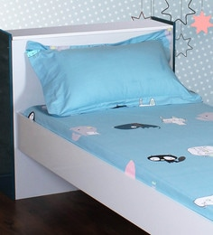 McJackie 210 TC 100% Cotton Single Size Bedsheet With 1 Pillow Cover