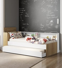 McKyle Single Bed With Trundle And Shelves Storage In White Finish ...