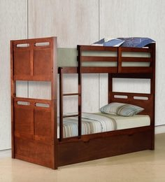 McLuis Bunk Bed With Pull Out Bed In Walnut Finish