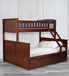 McTaylor Bunk Bed (Single & Queen) With Pull Out Bed In Walnut Finish