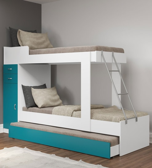 Buy Mchannah Storage Bunk Bed With Trundle In Green White By