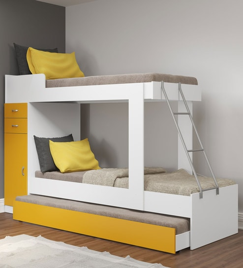 Mchannah Storage Bunk Bed With Trundle In Yellow White By Mollycoddle