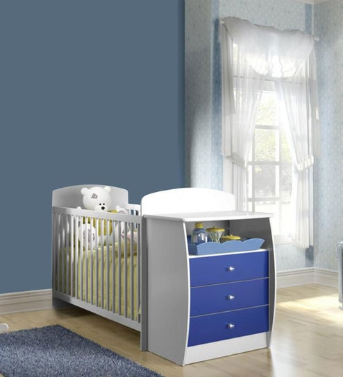 Buy McKevin Baby Crib with Chest of Drawers in Satin White ...