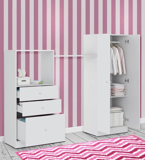 Buy Mckevin Chest Of Drawers With Wardrobe In Satin White By