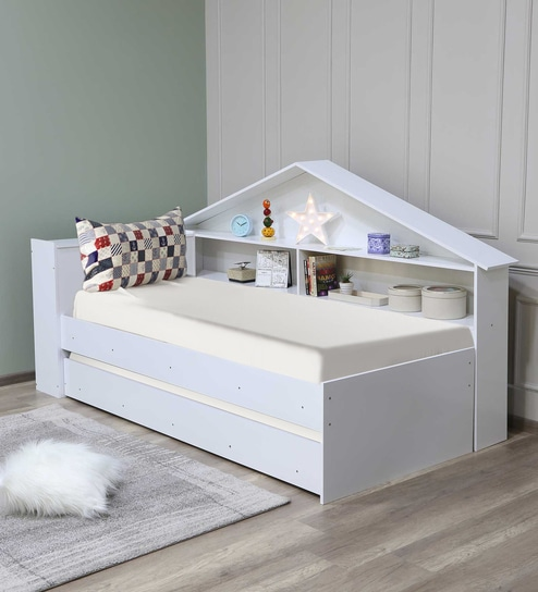 new product 574cb 76471 McKyle Single Bed with Trundle and Shelves Storage in White Finish by  Mollycoddle