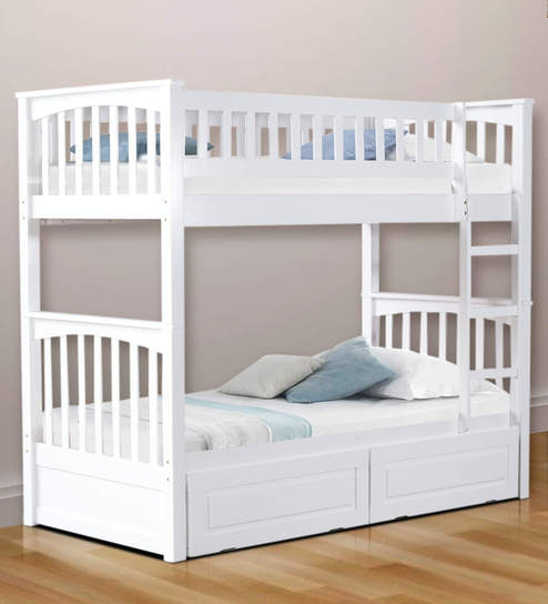 Buy Mcleo Kids Bunk Bed With Storage In White Finish By Mollycoddle