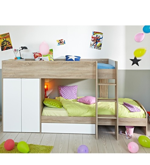 Buy Mcryan Midsleeper Bunk Bed In Oak White Finish By Mollycoddle