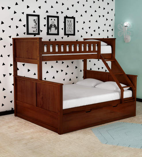Buy Mctaylor Bunk Bed Single Queen With Drawer Storage In Walnut