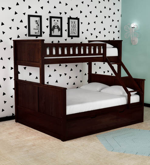 online store f775d 84829 McTaylor Bunk Bed (Single & Queen) with Pull Out Bed in Wenge Finish by  Mollycoddle