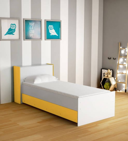 Buy Mczoe Trundle Bed With Headboard Storage In Satin White Yellow