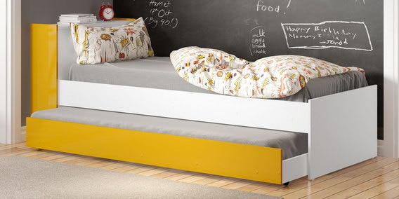 mczoe trundle bed with storage headboard in satin white u0026 yellow by mollycoddle