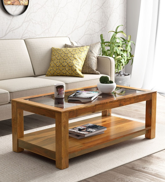 Buy Mckaine Solid Wood Coffee Table With Glass Top In Rustic Teak Finish Woodsworth By Pepperfry Online Contemporary Rectangular Coffee Tables Tables Furniture Pepperfry Product