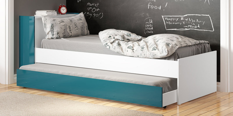 McZoe Trundle Bed with Storage Headboard in Satin White & Green by Mollycoddle