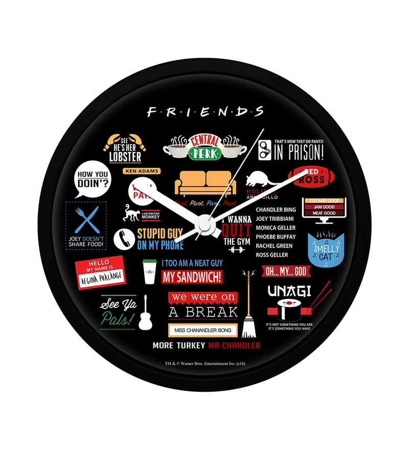 Multicolour Plastic 12 Inch Round Official Friends Infographic Wall Clock Licensed by Warner Bros USA by MC SID RAZZ