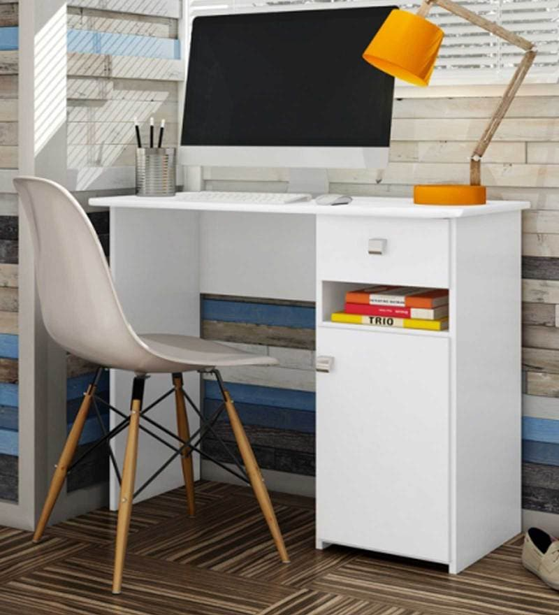 McAlba Study Table in Satin White by Mollycoddle