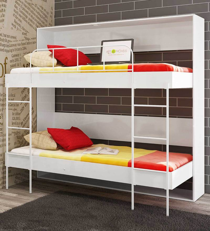 McAlba Wall Bunk Bed in Satin White by Mollycoddle