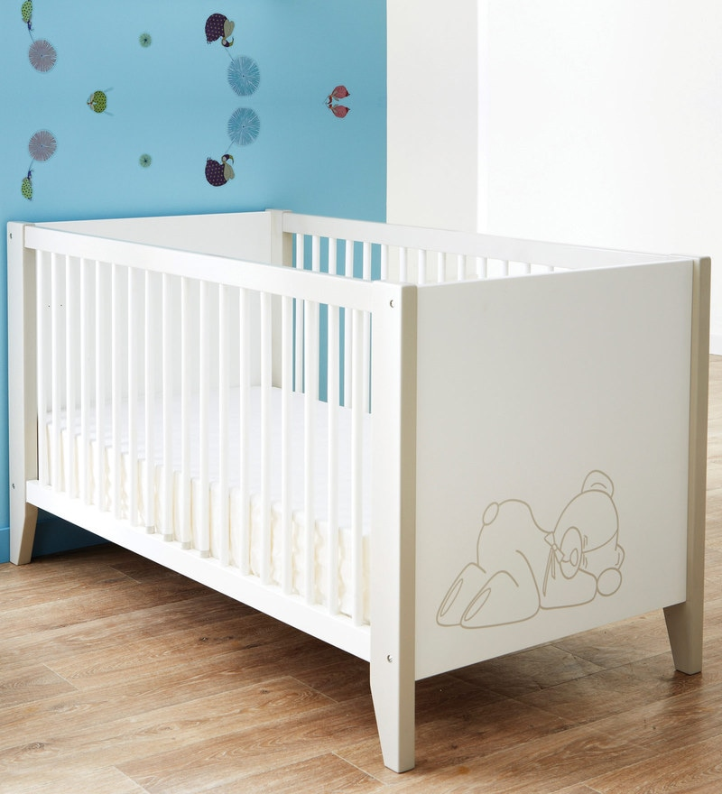 buy mcbaloo baby crib bed with adjustable height in white finish by mollycoddle online cradles kids furniture pepperfry