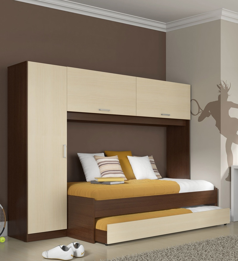 McIvan Trundle Bed Set with Wardrobe in Maple & Tobacco by Mollycoddle