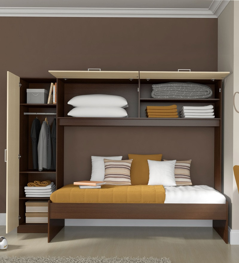 Buy Mcivan Trundle Bed With Wardrobe In Maple Amp Tobacco By