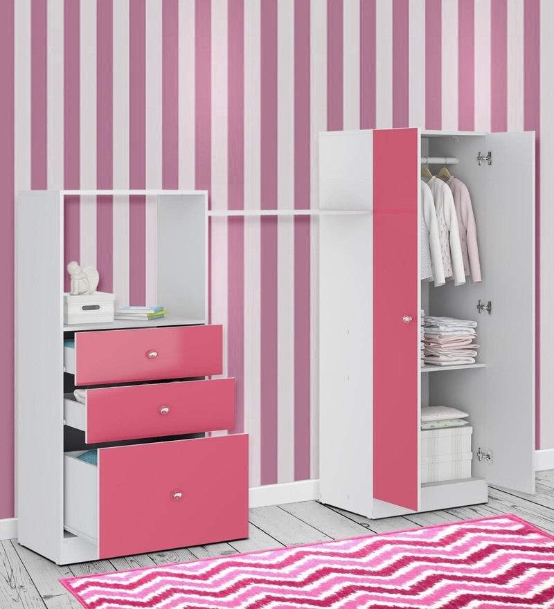 McKevin Chest of Drawers  with Wardrobe in Satin White & Pink by Mollycoddle