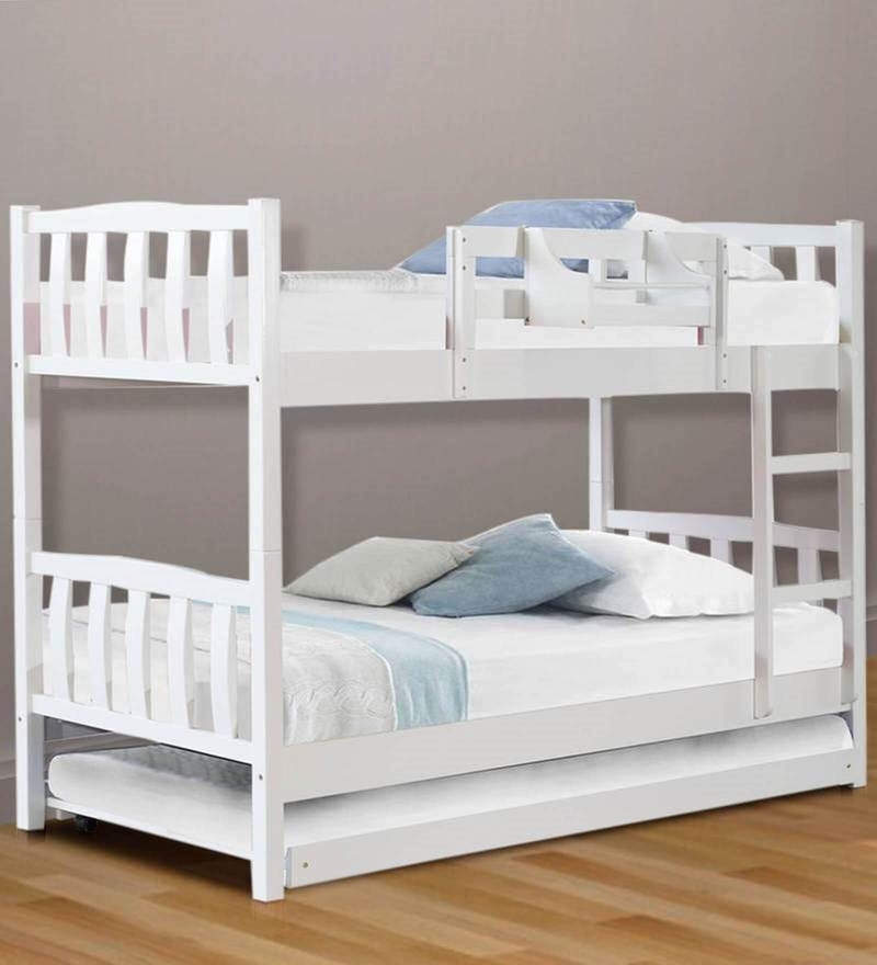 Buy Mclogan Bunk Bed With Pull Out In White Finish On Rent Online Beds Furniture On Rent In Mumbai Furniture Rental Pepperfry Product