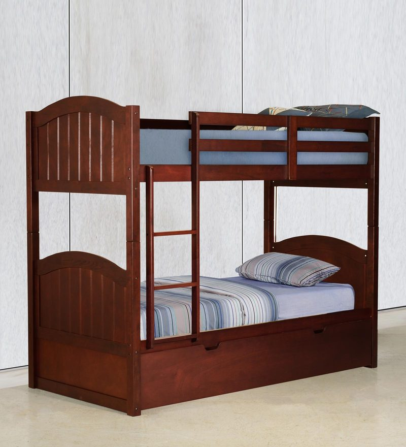 McXander Bunk Bed with Pull Out Bed in Walnut Finish by Mollycoddle