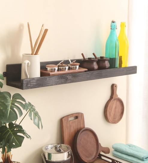 Buy Brown Pine Wood Single Tier Pallet Wall Shelf By Mdpw Online
