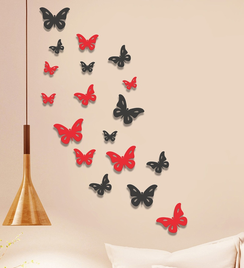 Mdf Multicolour Butterflies Wall Decals by Sehaz Artworks