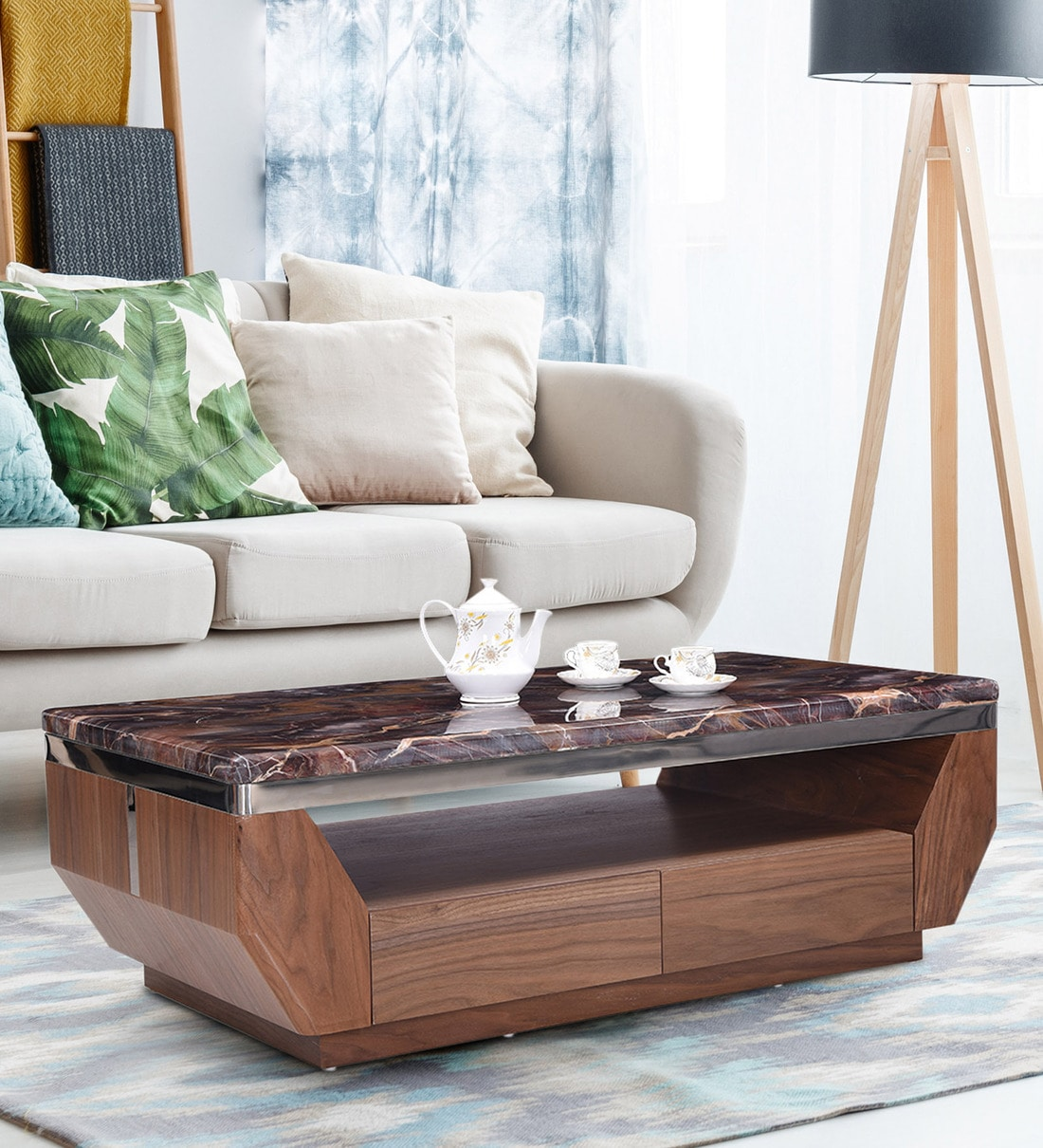 Buy Sania Italian Art Marble Coffee Table By Royaloak Online Contemporary Rectangular Coffee Tables Tables Furniture Pepperfry Product