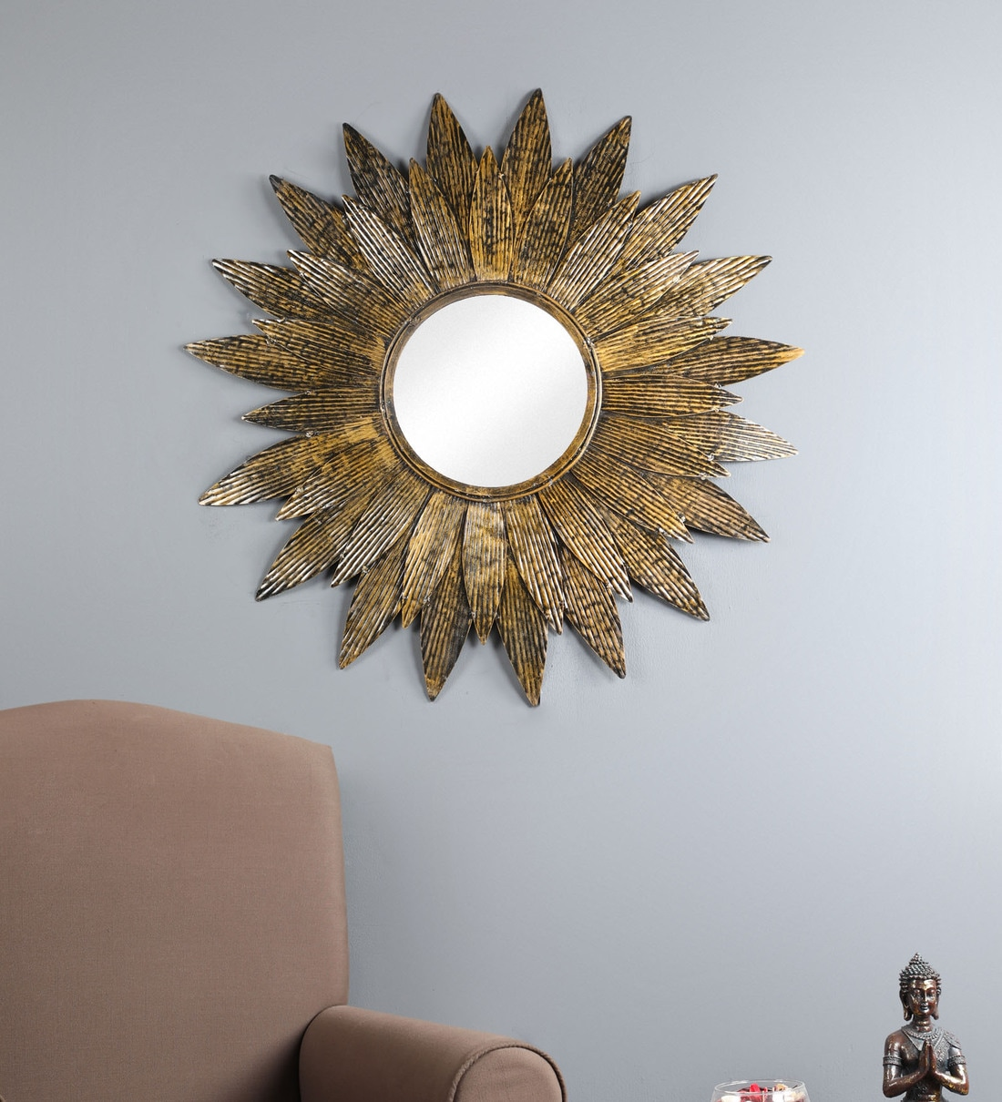 Buy Metal Round Wall Mirror In Gold Colour By Living Ideas Online Round Mirrors Wall Accents Home Decor Pepperfry Product